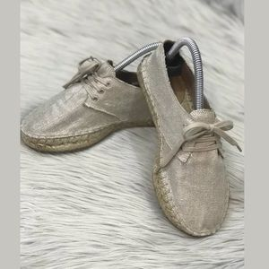 Womens J Crew Metallic Canvas Lace Up Espadrille